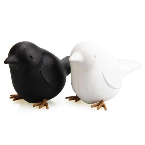 Qualy-originele vogel zout en peper vaatjes-zwart wit-9579