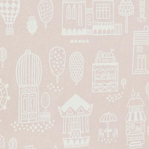 Majvillan-origineel zweeds behangpapier-small town dusty pink-9890