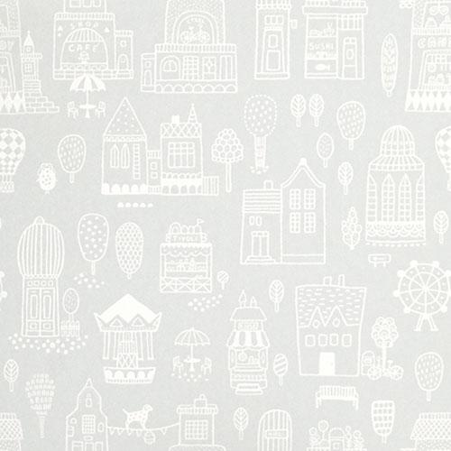 Majvillan-origineel zweeds behangpapier-small town grey-9891