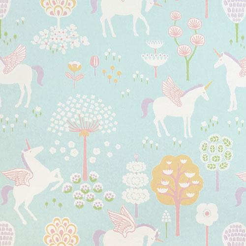 Majvillan-origineel zweeds behangpapier-true unicorns turquoise-9898