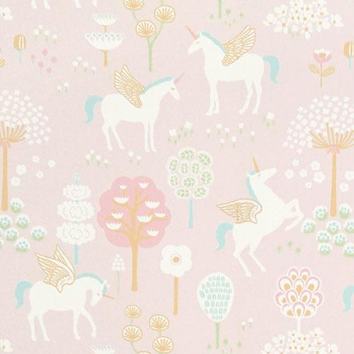 Majvillan-origineel zweeds behangpapier-true unicorns pink-9899