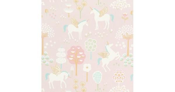 Behang Kinderkamer Geel : Majvillan origineel zweeds behangpapier true unicorns pink prod9899 nl