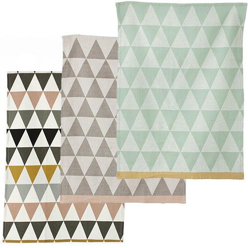 Ferm Living-set van 3 vaatdoeken triangle-triangle set-10104