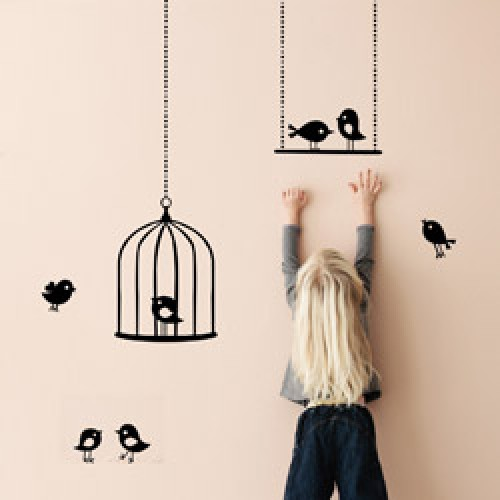 ferm living uitverkocht muursticker tweeting birds kwetterende vogels zwart prod3991 nl. Black Bedroom Furniture Sets. Home Design Ideas