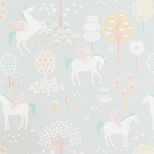 Majvillan-origineel zweeds behangpapier-true unicorns grey-9900