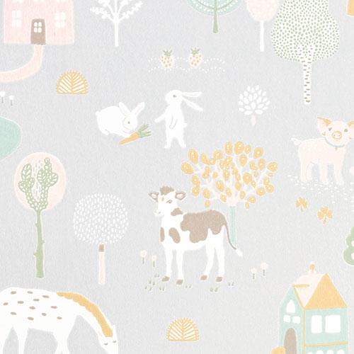 Majvillan-origineel zweeds behangpapier-my farm soft grey-10112
