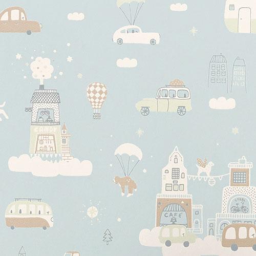 Majvillan-origineel zweeds behangpapier-above the clouds soft blue-10126