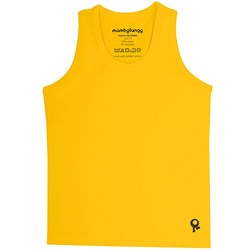 Mambo Tango-gele kids t shirt zonder mouw-geel 10 jaar-4516