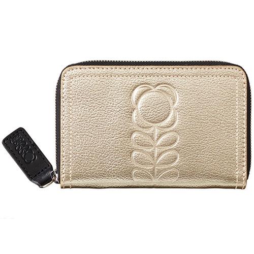 53596dd23f6 Orla Kiely-medium lederen portemonnee embossed flower-light gold-10035