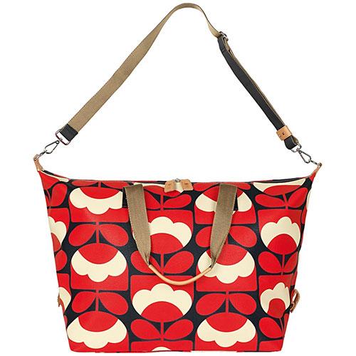 Orla Kiely Spring Bloom Vinyl Classic Zip Shoulder Bag Ruby red