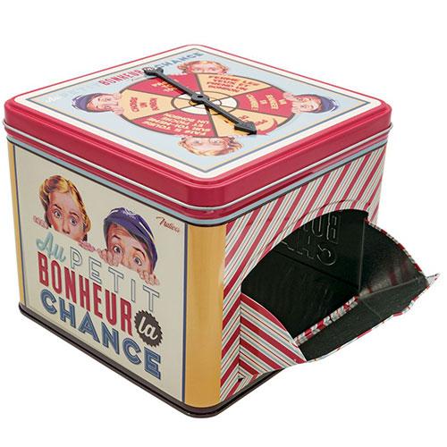Natives-retro blikken koekjesdoos met roulette pijl-au p'tit bonheur-10050