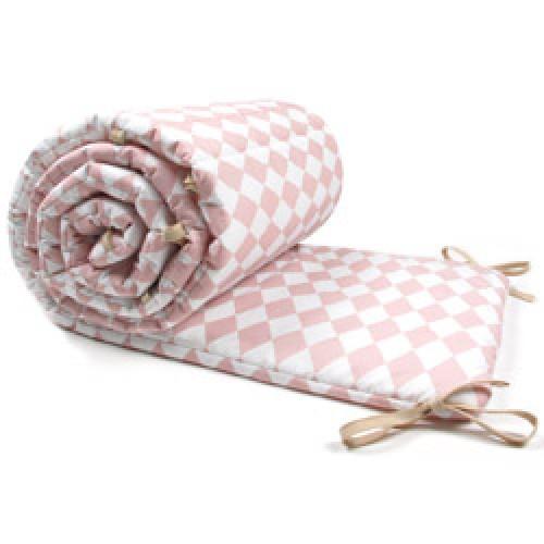 Nobodinoz-prachtige stootrand voor ledikant-diamant roze-485