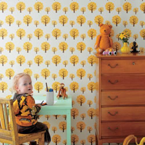 Ferm Living-deens behangpapier-dotty yellow-2614