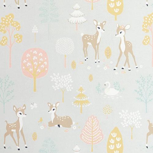 Majvillan-origineel zweeds behangpapier-golden woods soft grey-10108